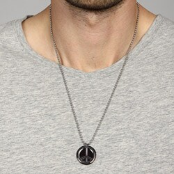 Brown Ion-plated Stainless Steel Men's Peace Sign Necklace