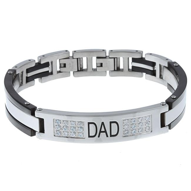 Stainless Steel Men's Cubic Zirconia 'Dad' Bracelet