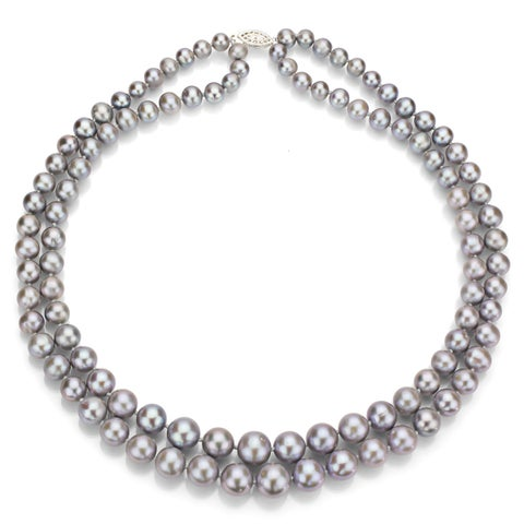 """DaVonna Sterling silver Graduated 6-11mm Grey Freshwater Pearl 2-row Necklace, 17"""""""