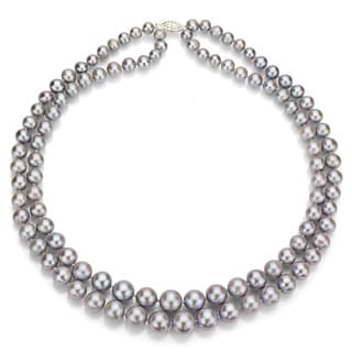 DaVonna Silver Grey FW Pearl 2-row Graduated Necklace (6-11 mm)