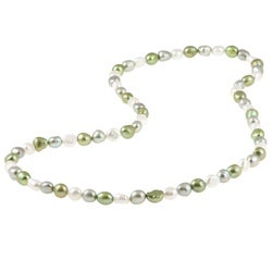 DaVonna Multi-colored Green Baroque FW Pearl 28-inch Endless Necklace (9-10 mm)
