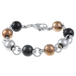 Three-stone Stainless Steel Unisex Ball Link Bracelet