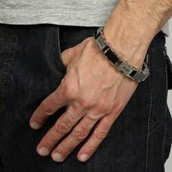 Men's 1/4-CT TDW Black Diamond Stainless-Steel Link Bracelet - Thumbnail 2