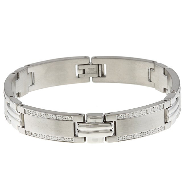 Stainless Steel Young Adult 1ct TDW Diamond Bracelet