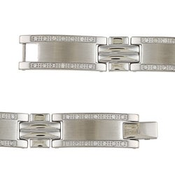 Stainless Steel Young Adult 1ct TDW Diamond Bracelet - Thumbnail 1