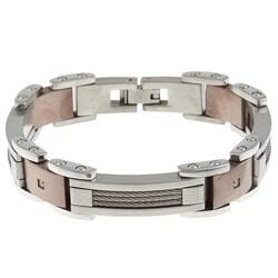 Stainless Steel Men's 1/10ct TDW Diamond Bracelet