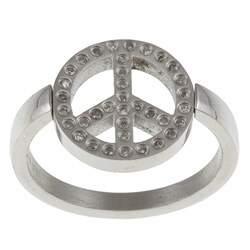 Stainless Steel 1/8ct TDW Diamond Peace Sign Ring (G-H, I2-I3)