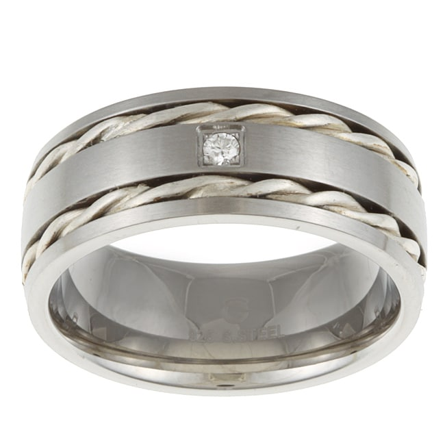 Stainless Steel and Sterling Silver Men's Diamond Accent Band Ring