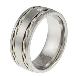Stainless Steel and Sterling Silver Men's Diamond Accent Band Ring - Thumbnail 1