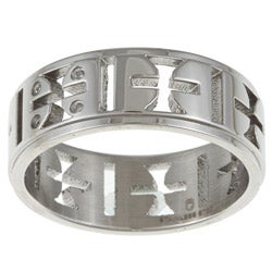 Stainless Steel Cross Cut-out Diamond Accent Band Ring