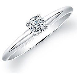 14k White Gold 1/4ct TDW Certified Round Diamond Solitaire Ring (G-H, SI2-SI3)