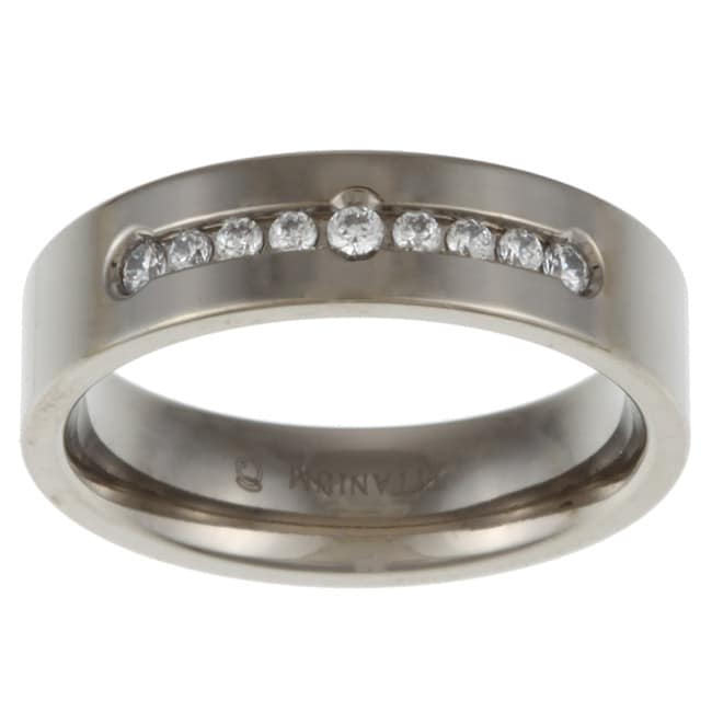 Titanium 1/4ct TDW Diamond Band Ring (G-H, I2-I3)