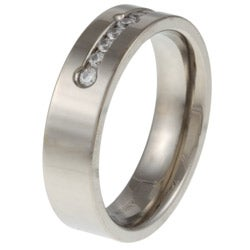 Titanium 1/4ct TDW Diamond Band Ring (G-H, I2-I3) - Thumbnail 1