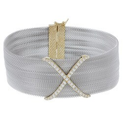 La Preciosa Sterling Silver Cubic Zirconia 'X' Bracelet
