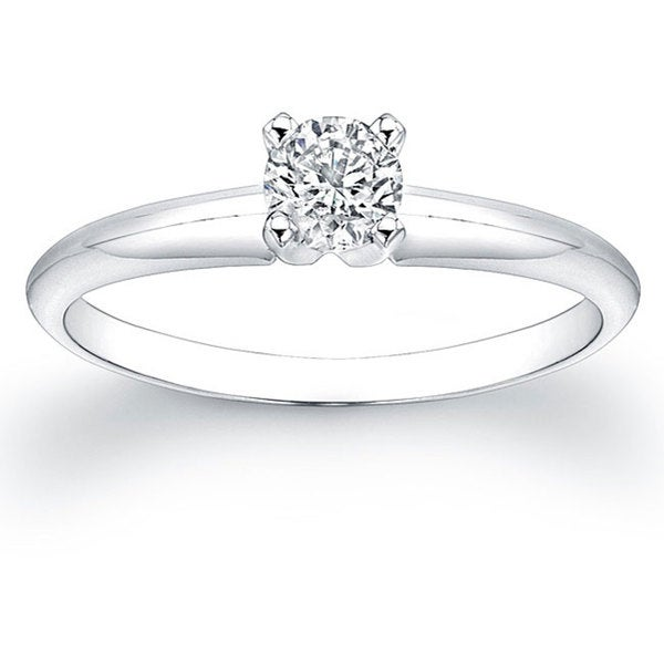 Victoria Kay 14k White Gold 1/3ct TDW Certified Diamond Solitaire Engagement Ring (H-I, SI1-SI2)