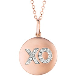 Silver and 14k Gold 1/10ct TDW Diamond 'XO' Disc Necklace (H-I, I2-I3)