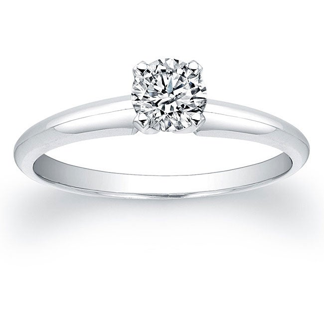 Victoria Kay 14k White Gold 3/8ct TDW Certified Diamond Solitaire Engagement Ring