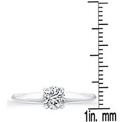 Victoria Kay 14k White Gold 3/8ct TDW Certified Diamond Solitaire Engagement Ring - Thumbnail 2