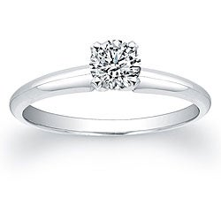 Victoria Kay 14k White Gold 3/8ct TDW Certified Diamond Solitaire Engagement Ring (H-I, SI2-SI3)
