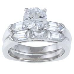 La Preciosa Sterling Silver Cubic Zirconia Double Band Ring