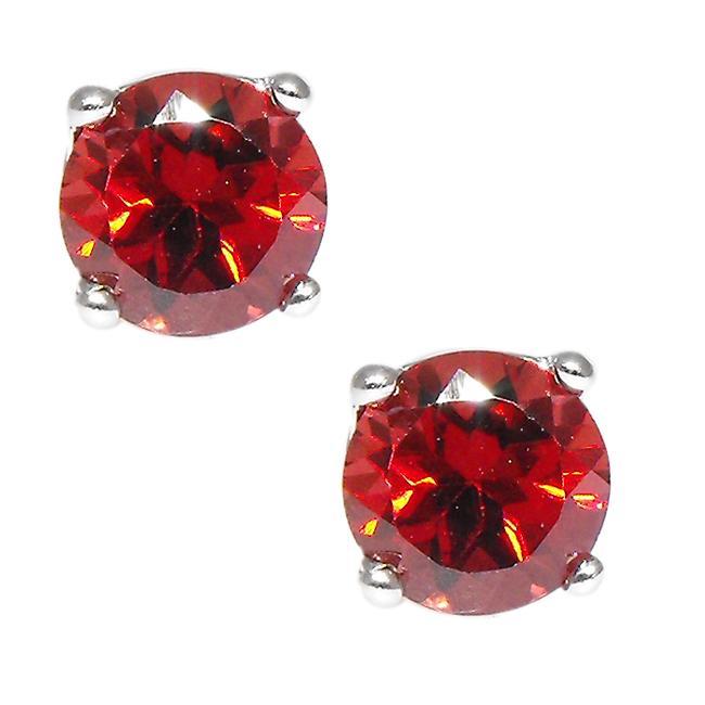 Sterling Silver Garnet Stud Earrings