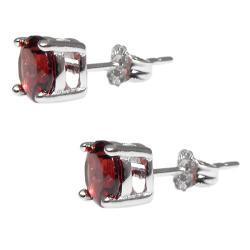 Sterling Silver Garnet Stud Earrings - Thumbnail 2