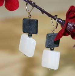 'Wall Street' White Onyx Hematite Blackstone Earrings