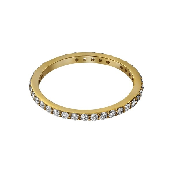14k Yellow Gold 1/2ct TDW Diamond Eternity Stackable Wedding Band - White H-I