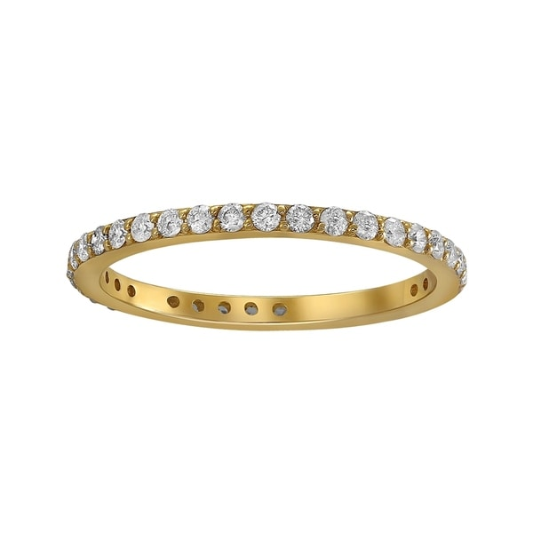 10k Yellow Gold 1/2ct TDW Traditional Diamond Eternity Stackable Wedding Band - White