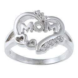 La Preciosa Sterling Silver CZ 'Mom' Heart Ring