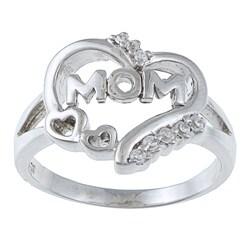 La Preciosa Sterling Silver CZ 'Mom' Heart Ring