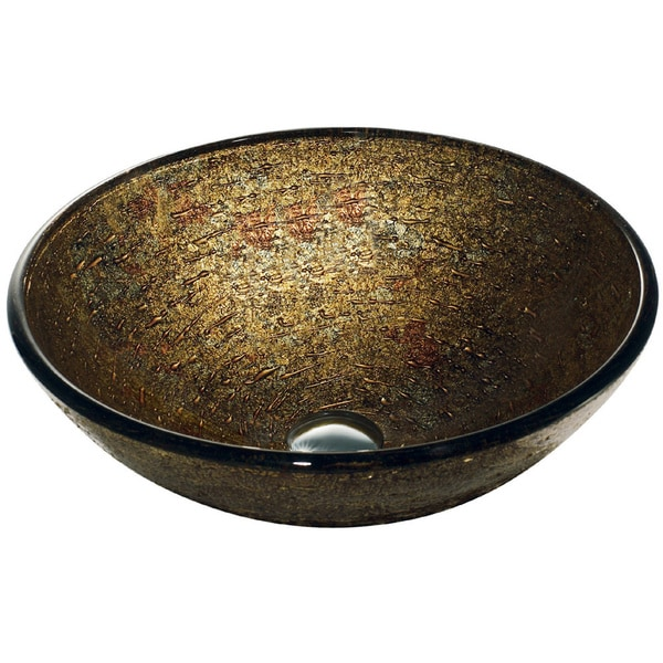 Textured Copper Glass Vessel Bathroom Sink
