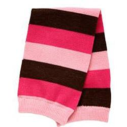 Hot Pink/ Light Pink/ Brown Striped Baby Leg Warmers - Thumbnail 1