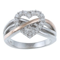 La Preciosa Sterling Silver White Cubic Zirconia Heart Ring