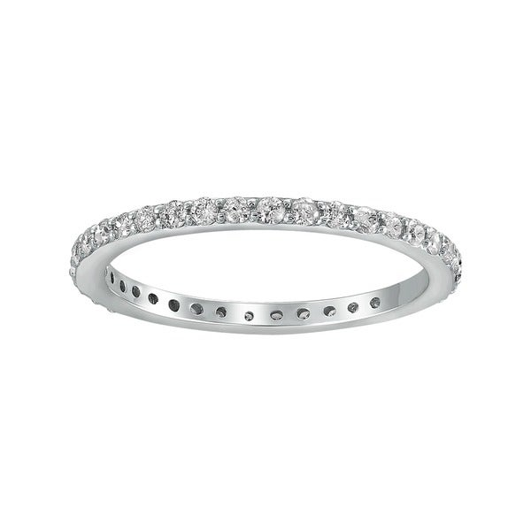 14k White Gold 1/2ct TDW Diamond Eternity Stackable Wedding Band - White H-I