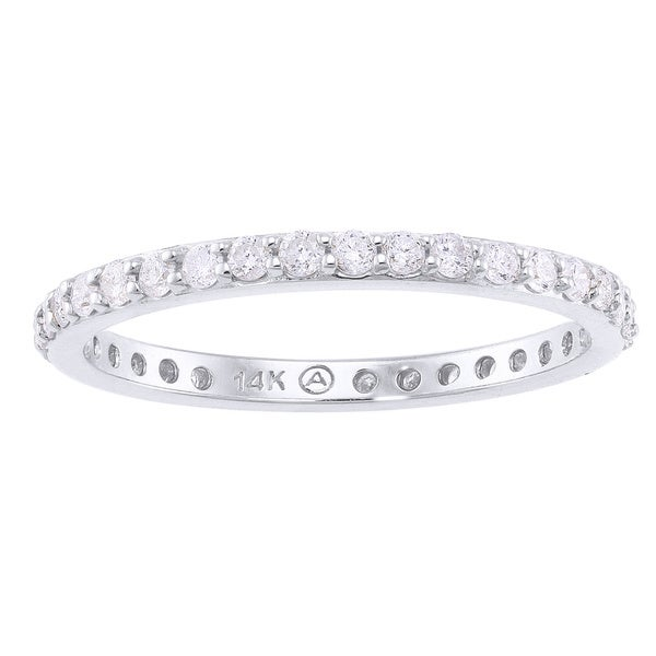 Beverly Hills Charm 14k White Gold 1/2ct TDW Diamond Eternity Stackable Wedding Band (H-I, I2-I3)