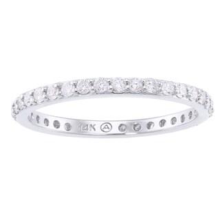 14k White Gold 1/2ct TDW Diamond Eternity Stackable Wedding Band - White H-I