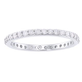 10k White Gold 1/2ct TDW Diamond Eternity Band Ring by Beverly Hills Charm