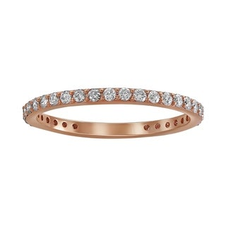 Link to 10k Rose Gold 1/2ct TDW Diamond Eternity Wedding Band Ring by Beverly Hills Charm - White H-I - White H-I Similar Items in Wedding Rings