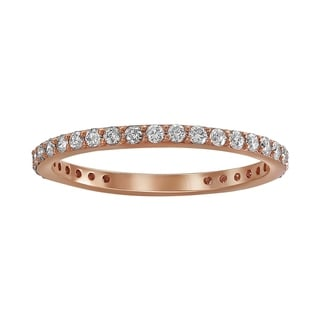 10k Rose Gold 1/2ct TDW Diamond Stackable Eternity Wedding Band Ring - White H-I