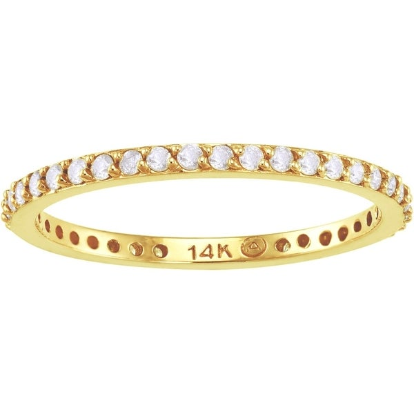 14k Yellow Gold 1/3ct TDW Diamond Eternity Stackable Wedding Band