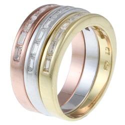 La Preciosa Sterling Silver Stackable CZ Tri-color Band Ring - Thumbnail 1