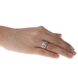 La Preciosa Sterling Silver Stackable CZ Tri-color Band Ring - Thumbnail 2