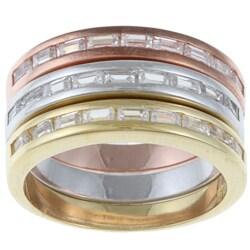 La Preciosa Sterling Silver Stackable CZ Tri-color Band Ring