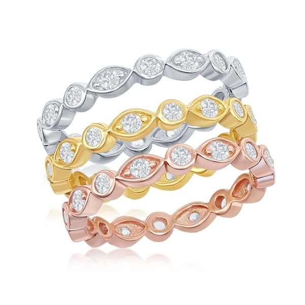 Buy For Less Clear Cubic Zirconia Designer Band Ring Gold-Tone and Rhodium Plated 925 Sterling Silver