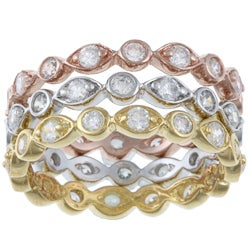 La Preciosa Sterling Silver Stackable Round-cut CZ Tri-color Band Ring