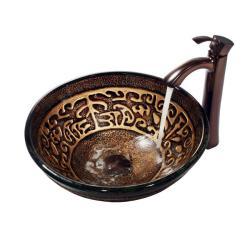 VIGO Golden Greek Glass Vessel Sink and Faucet Set in Oil Rubbed Bronze