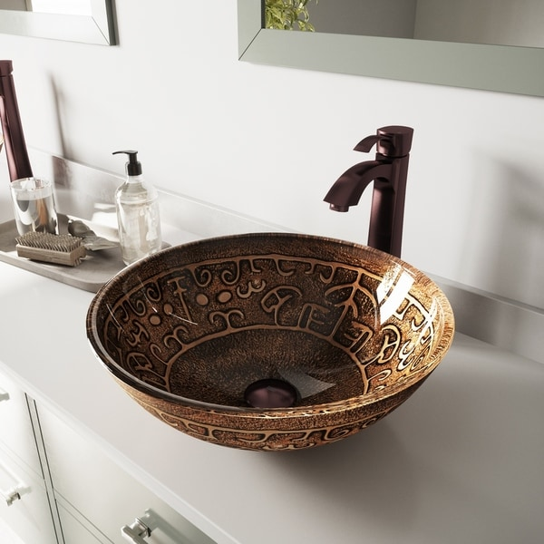 VIGO Golden Greek Glass Vessel Bathroom Sink Set with Otis Faucet