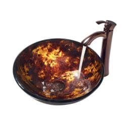 VIGO Brown and Gold Fusion Glass Vessel Sink and Faucet Set in Oil Rubbed Bronze