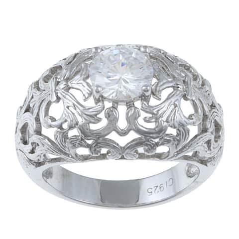 La Preciosa Sterling Silver Round-cut Cubic Zirconia Ring